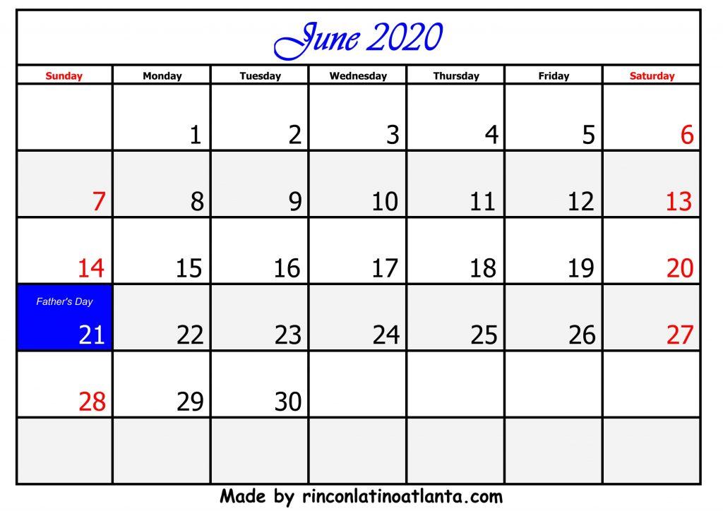 6 June Calendar Template 2020