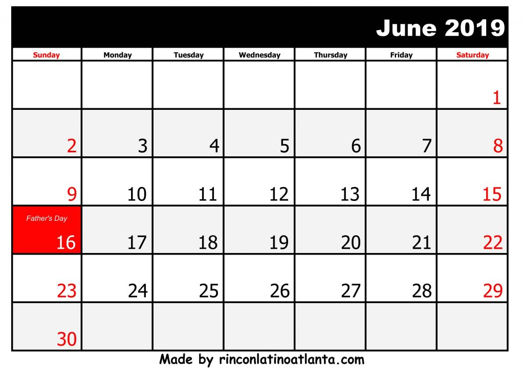 6 June Printable 2019 calendar with Holidays Black And White