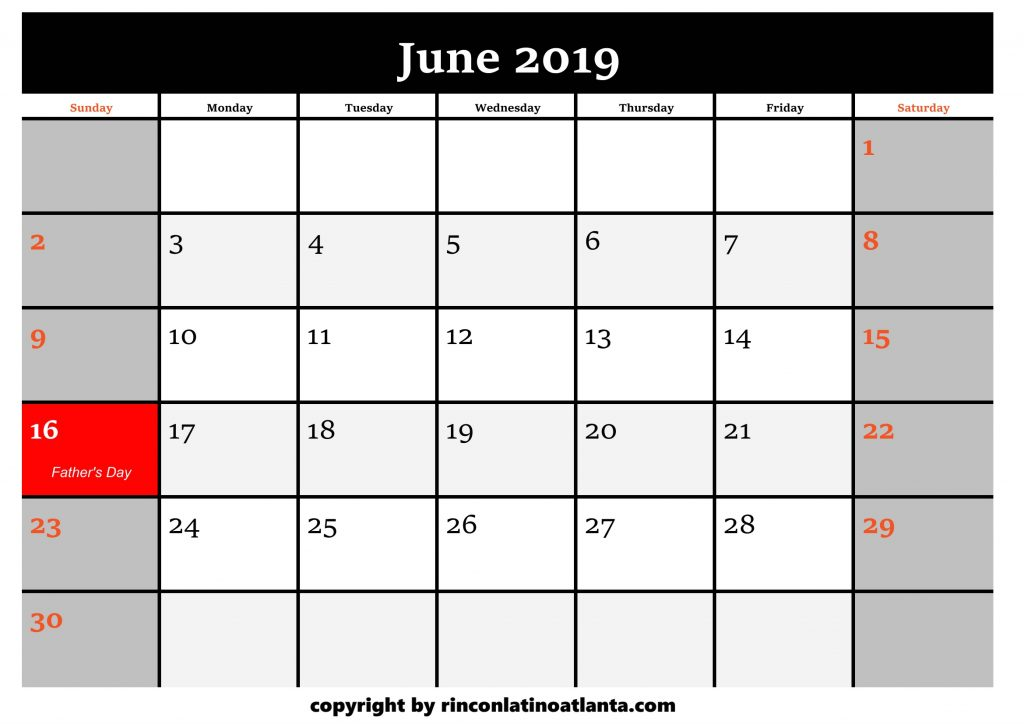 6 Printable 2019 Calendar by Month June