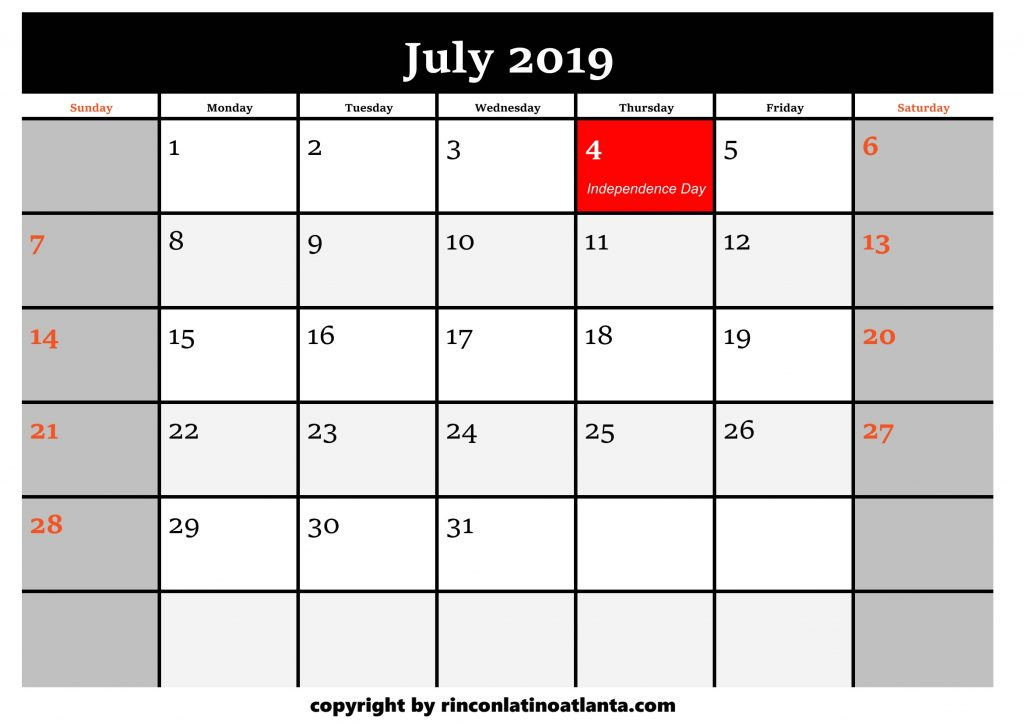 7 Printable 2019 Calendar by Month July
