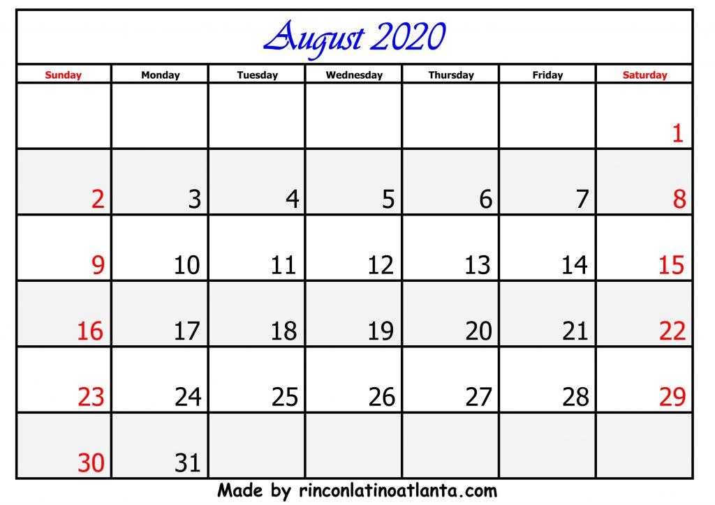 8 August Calendar Template 2020