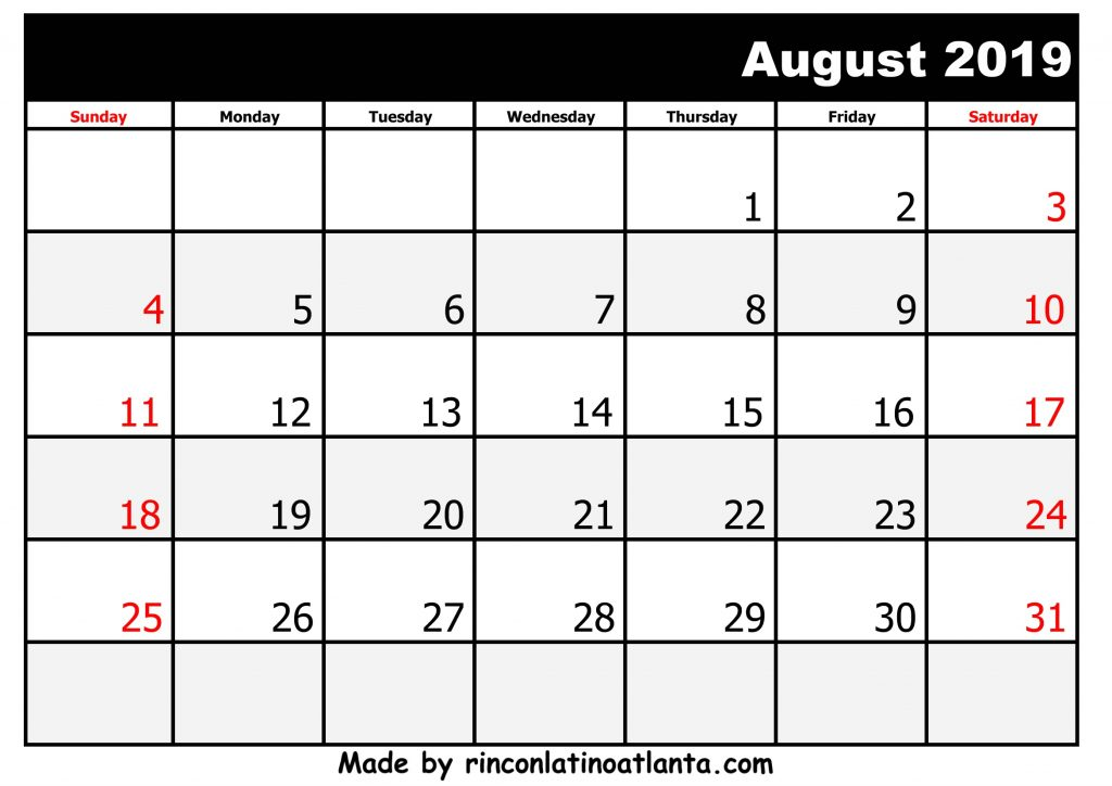 8 August Printable 2019 calendar with Holidays Black And White
