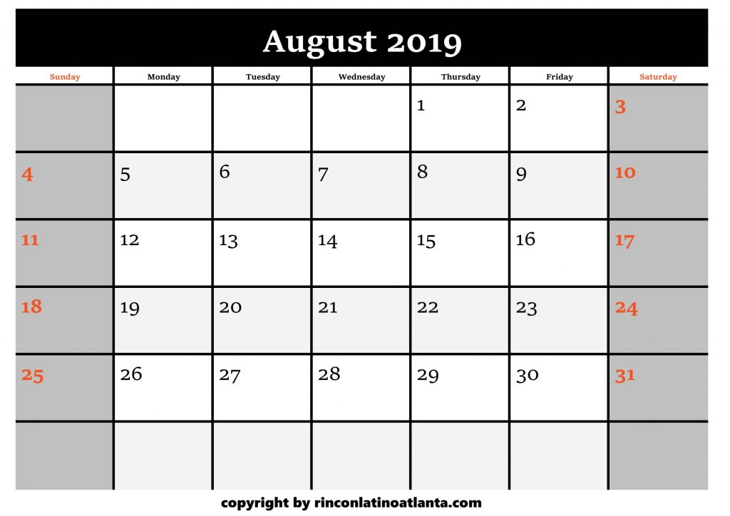 8 Printable 2019 Calendar by Month August