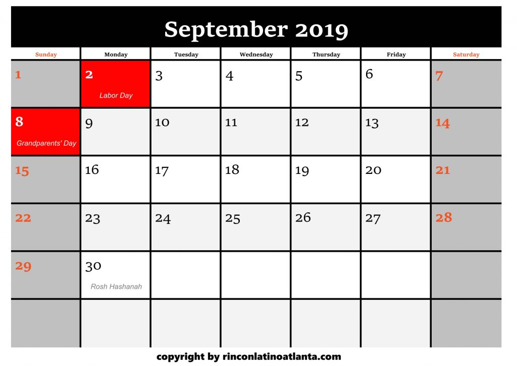 9 Printable 2019 Calendar by Month September