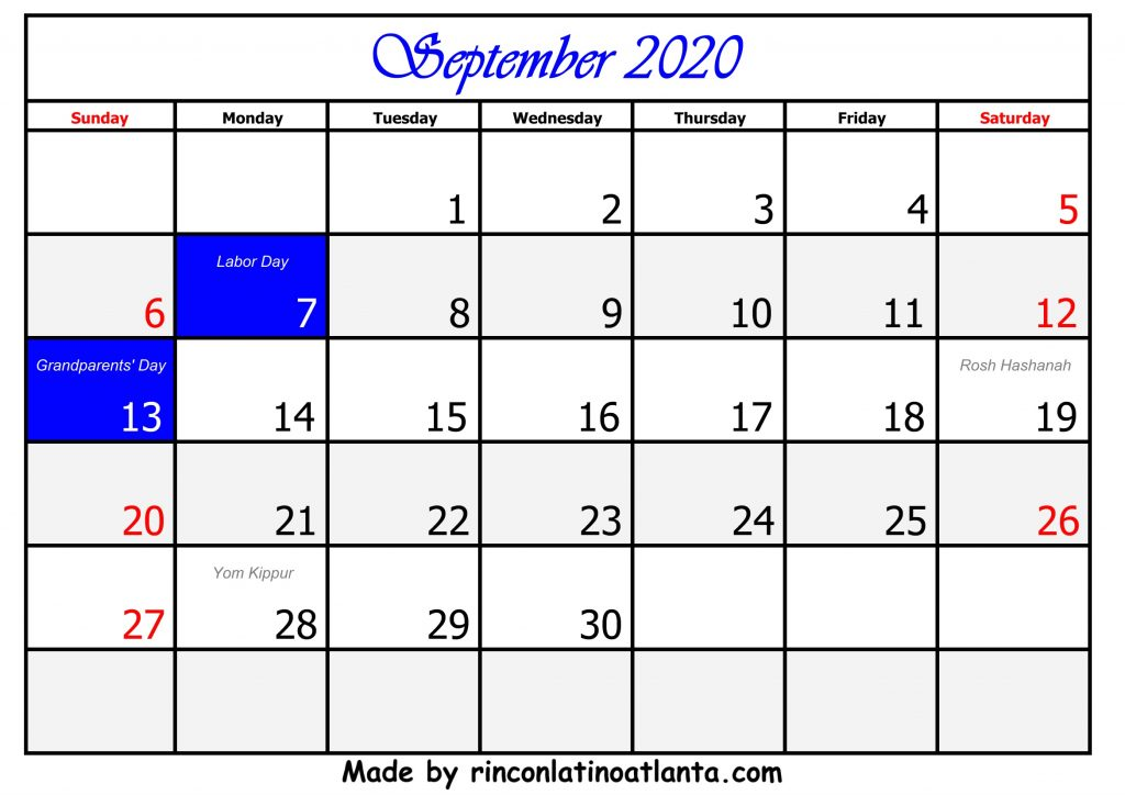 9 September Calendar Template 2020