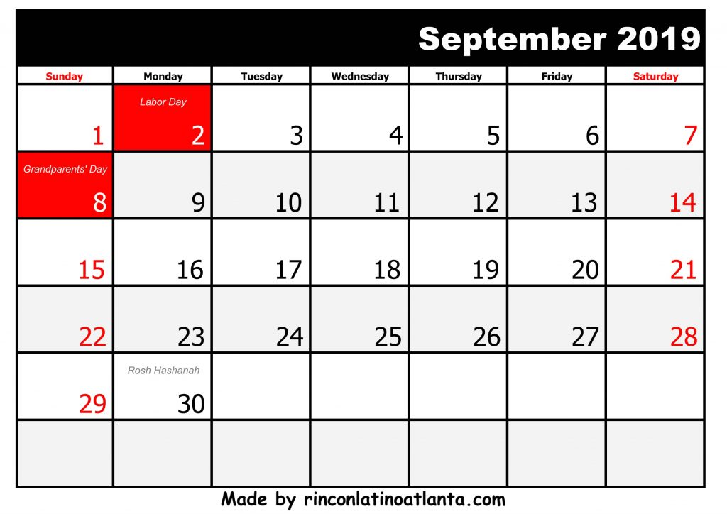9 September Printable 2019 calendar with Holidays Black And White