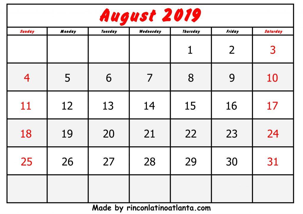 August Calendar 2019 Printable Free Red Font Header Center
