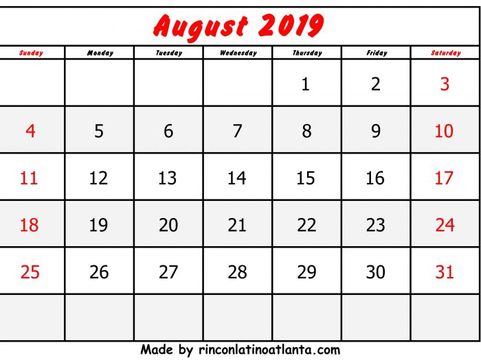 August Calendar 2019 Printable Free Red Font Header Center