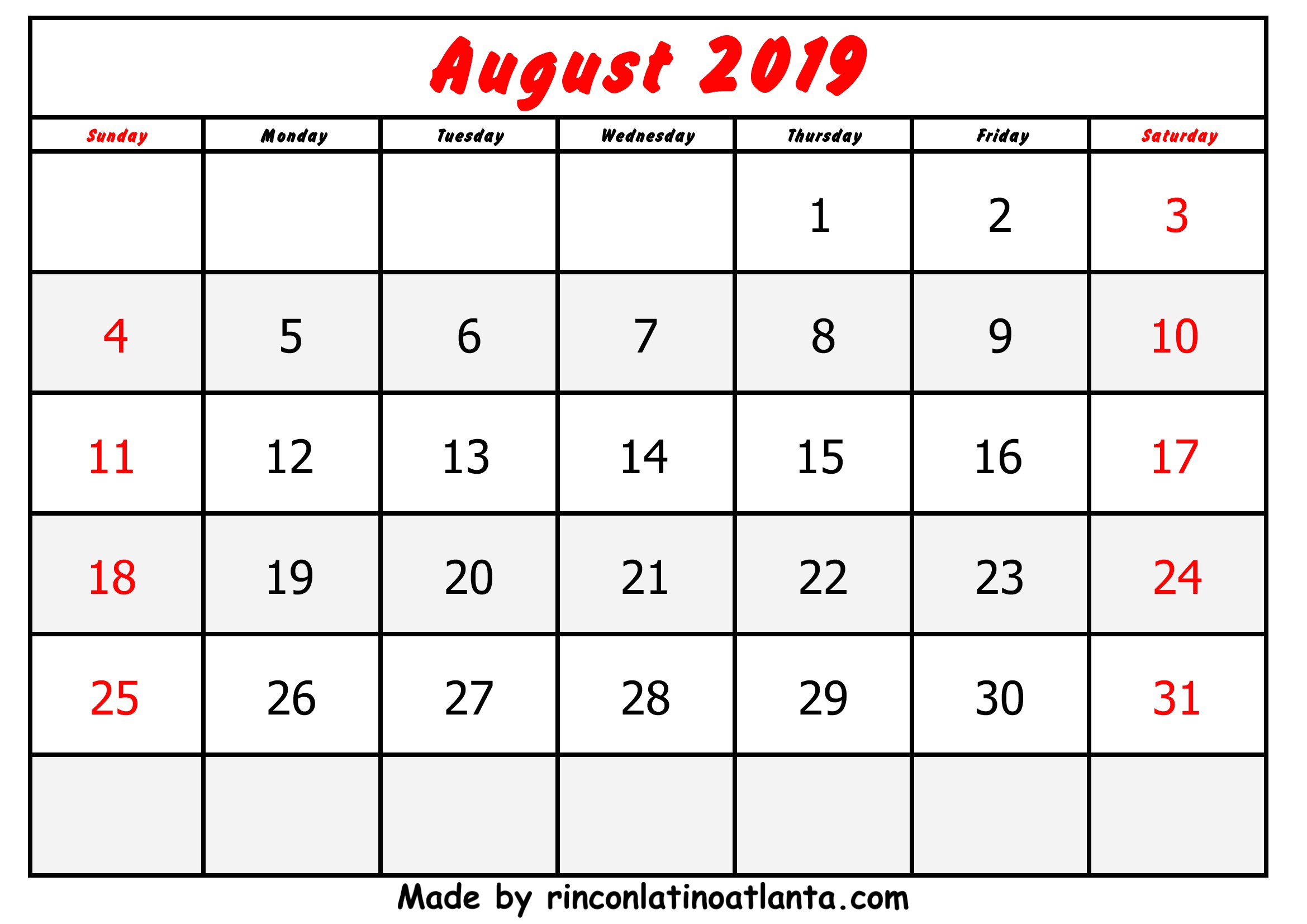 August Calendar 2019 Printable Free Simple | Calendar Template Printable