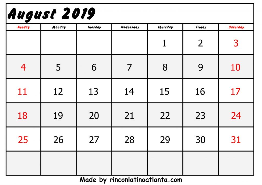 Black Center Left August Calendar 2019 Printable Free