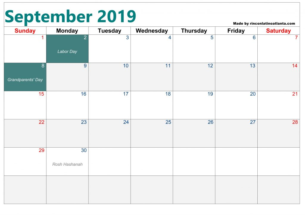 Botom Left Header Blank Calendar September 2019 Printable Template
