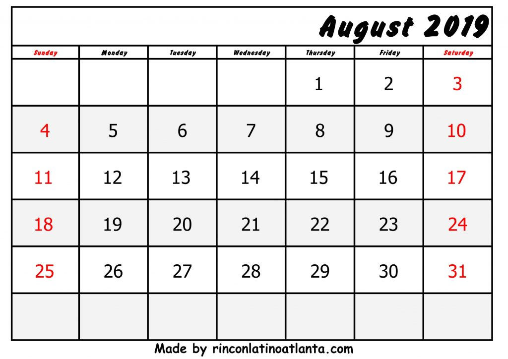 Bottom Right Header August Calendar 2019 Printable Free