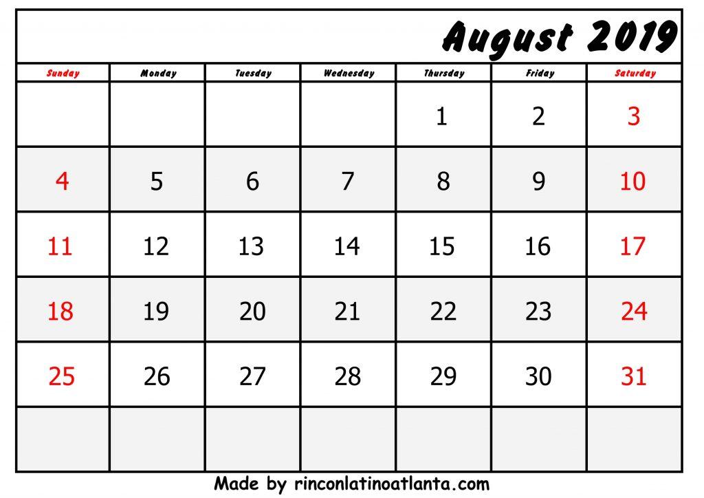 Bottom Right Header August Calendar 2019 Printable Free
