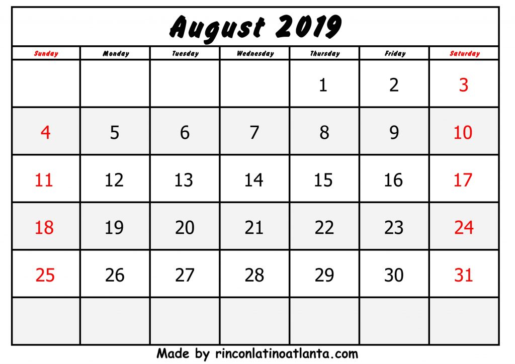 Center Black Header August Calendar 2019 Printable Free