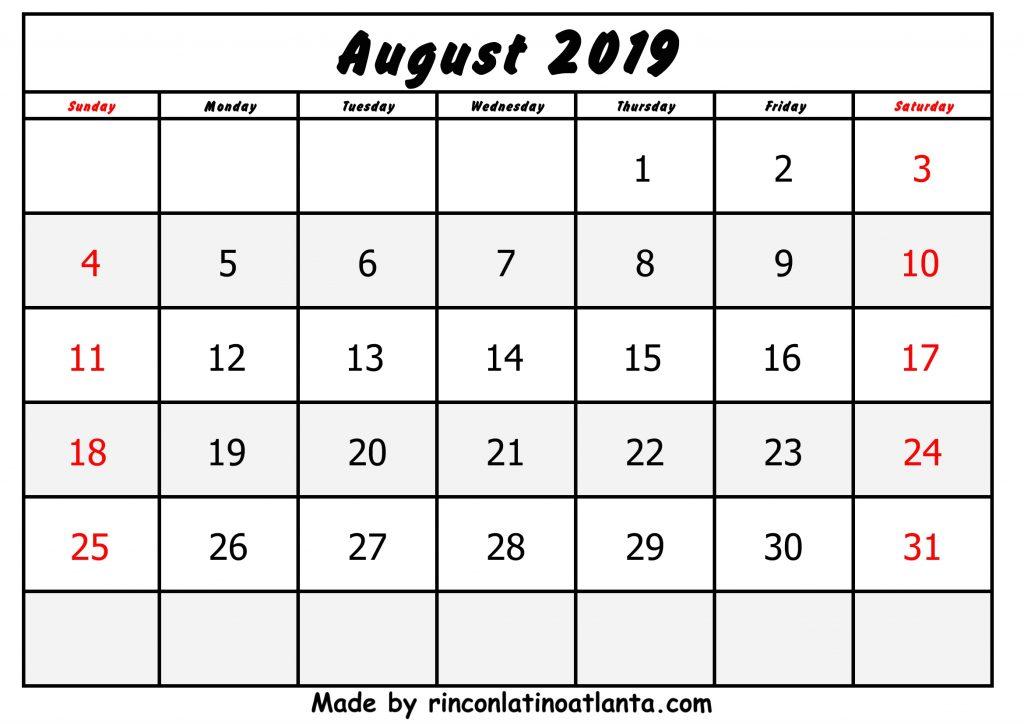 Center Black Header August Calendar 2019 Printable Free