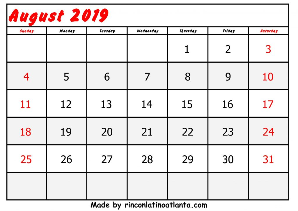 Center Left Red Header Font August Calendar 2019 Printable Free