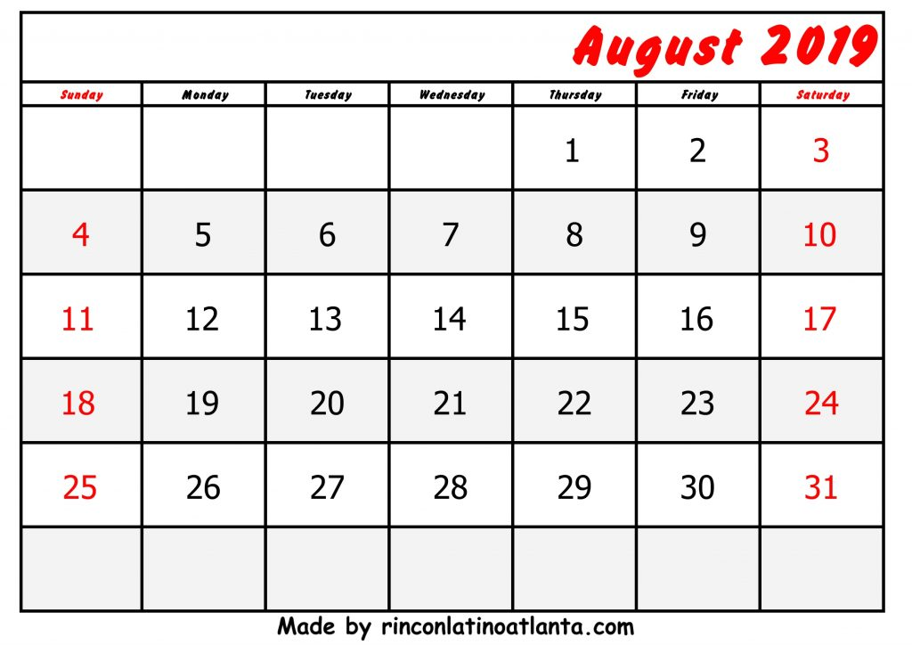 Center Right Header August Calendar 2019 Printable Free