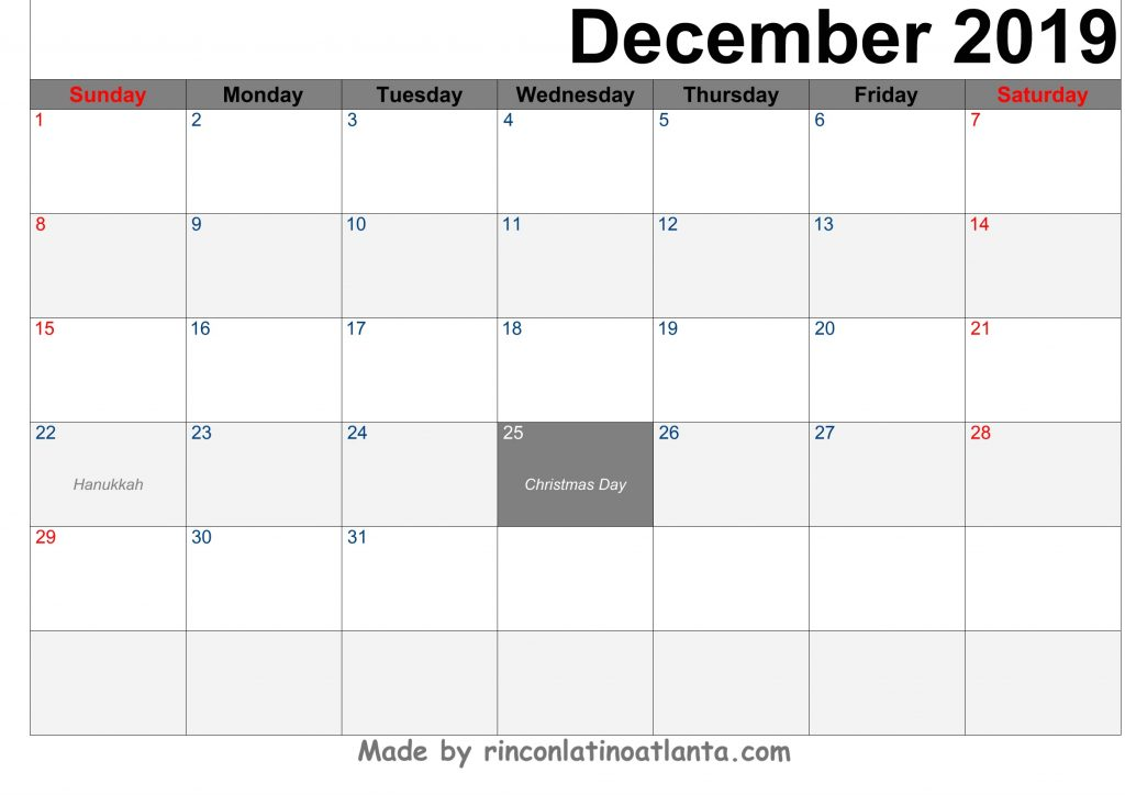 December 2019 Calendar Printable Template Black Header Arial Font Right