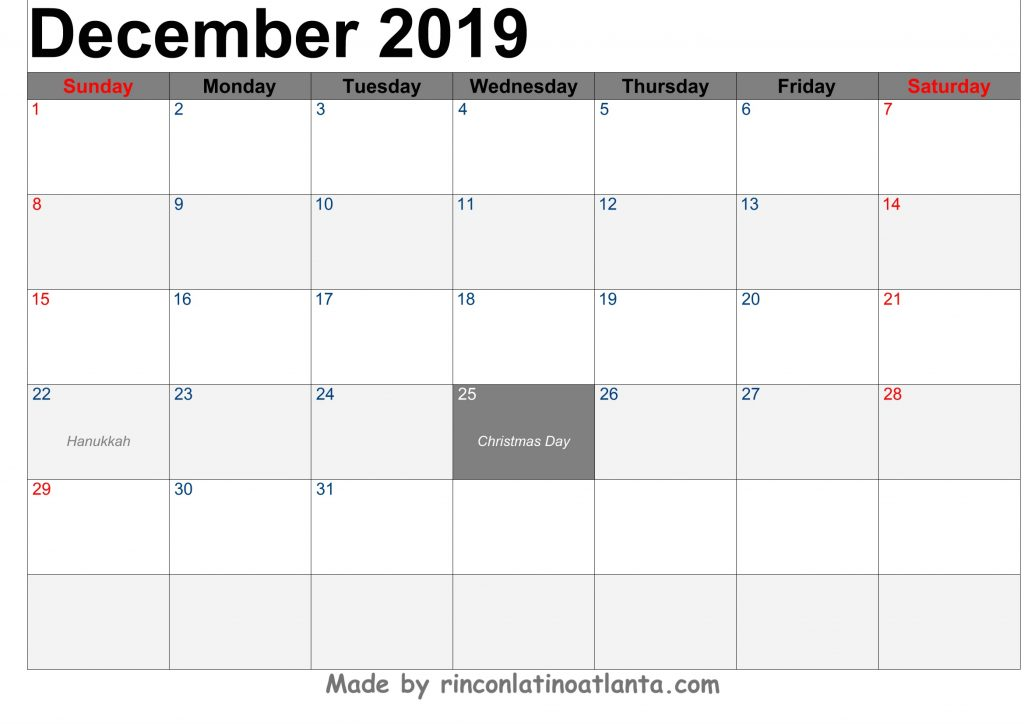 December 2019 Calendar Printable Template Black Header Font Black Left