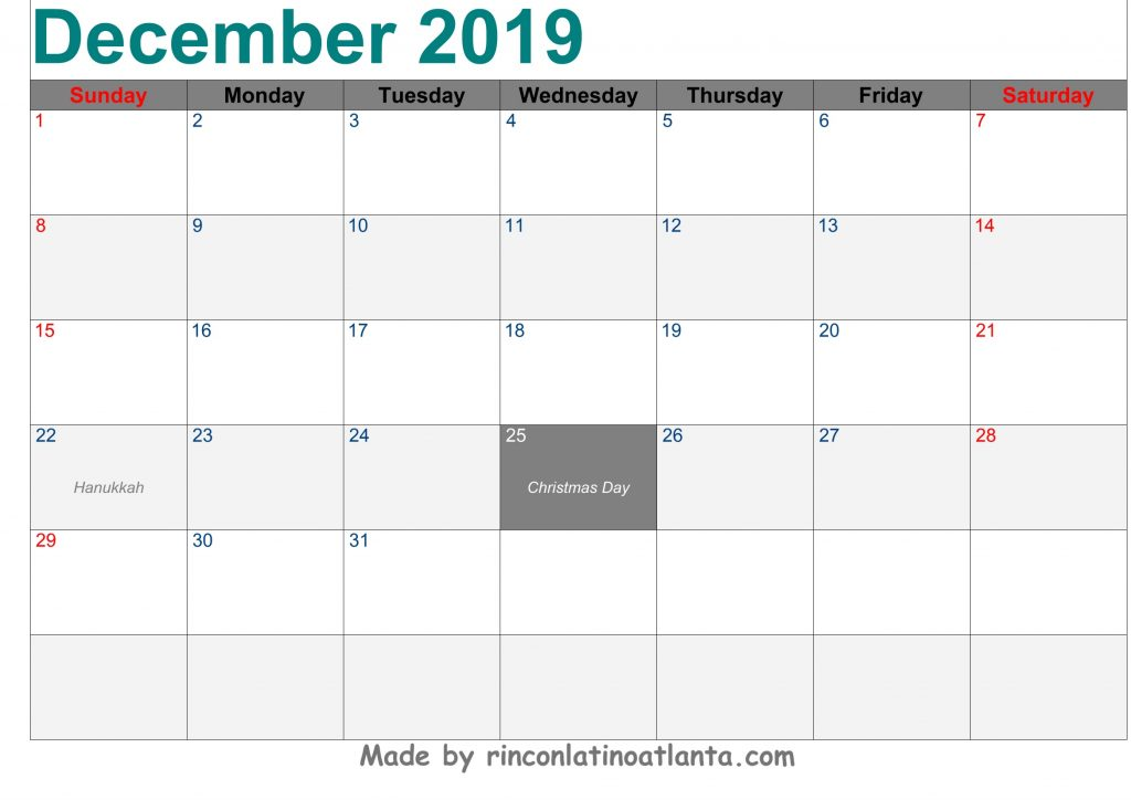 December 2019 Calendar Printable Template Green Header Font Arial Left