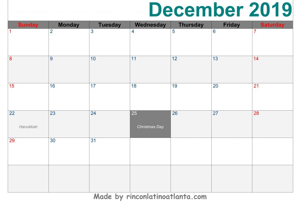 December 2019 Calendar Printable Template Green Header Font Arial Right
