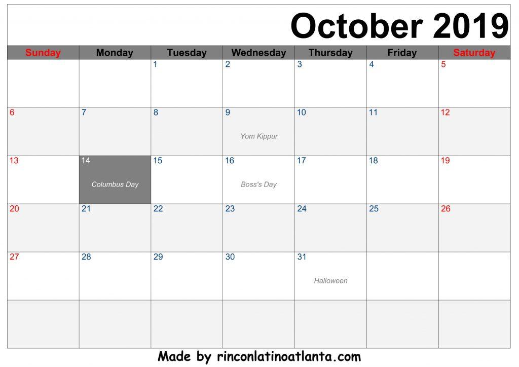 Free Download October 2019 Printable Calendar