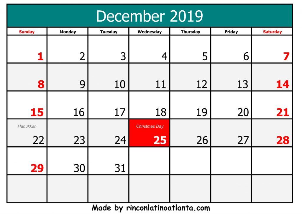 Free Printable 2019 December Calendar