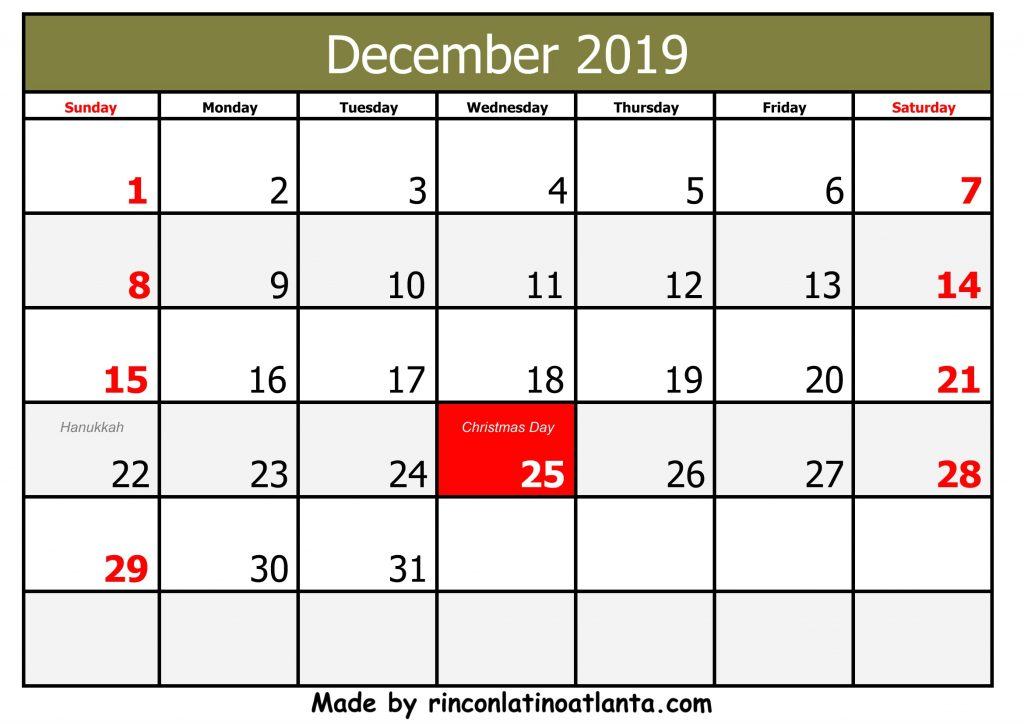 Free Printable 2019 December Calendar Bold With Holidays