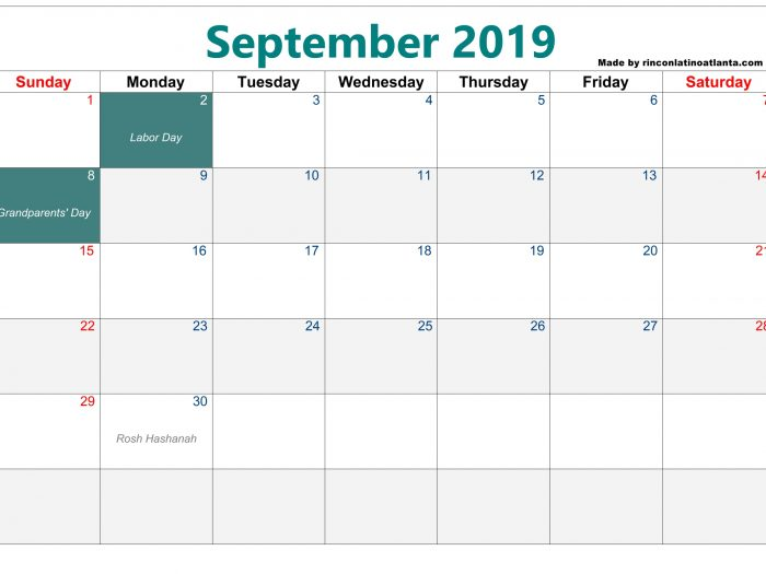Green Center Header Blank Calendar September 2019 Printable Free Download