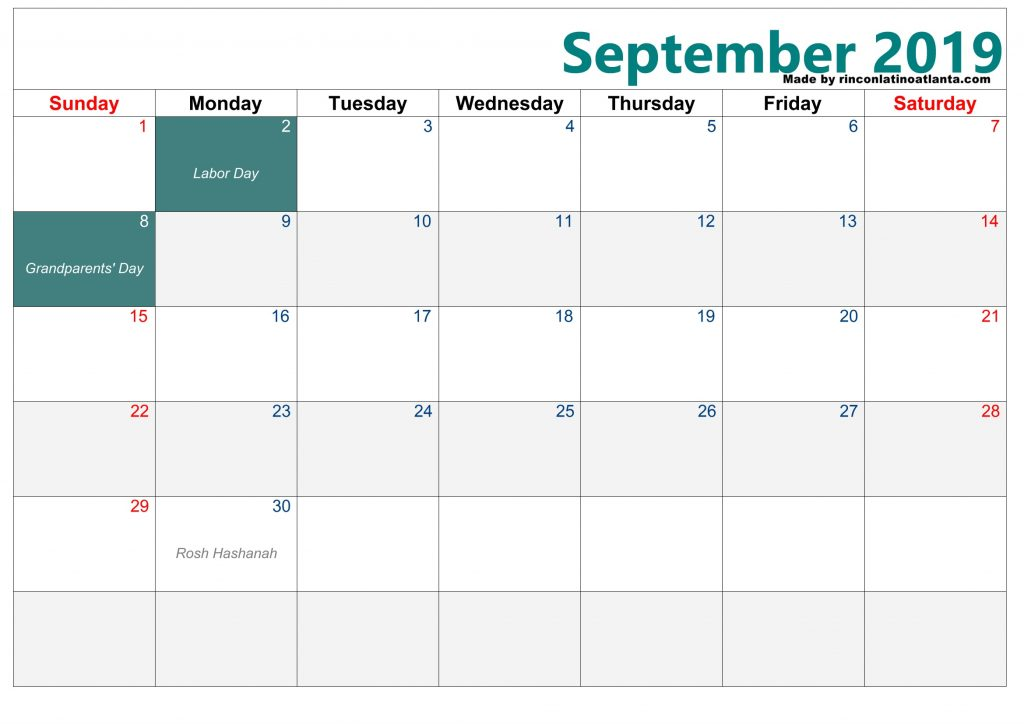 Green Center Right Header Blank Calendar September 2019 Printable Free Download