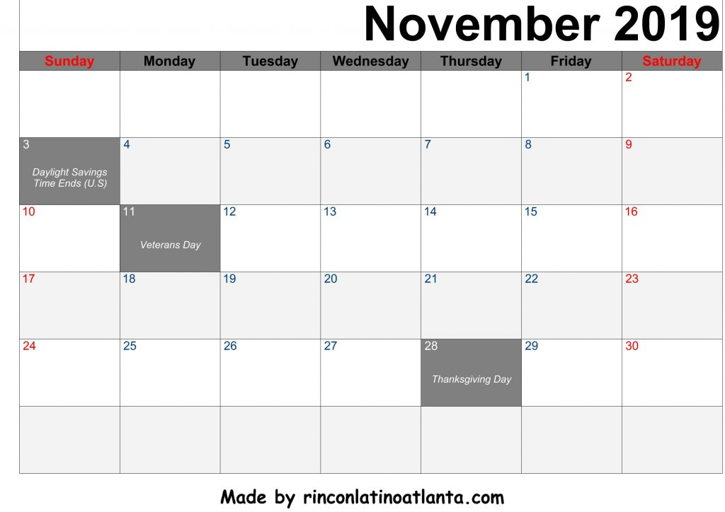 November 2019 Calendar Printable Black Right Header Arial Font