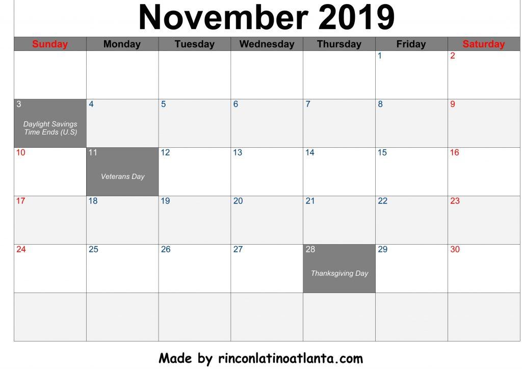 November 2019 Calendar Printable Center Header Black Font Color