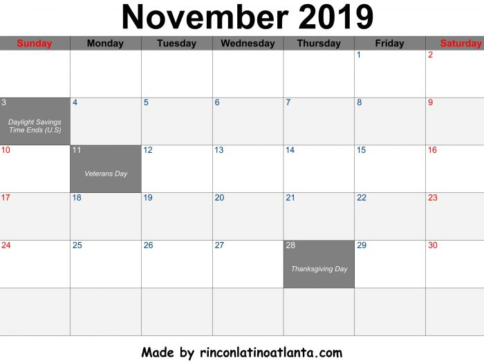 November 2019 Calendar Printable Center Header Black Font Color