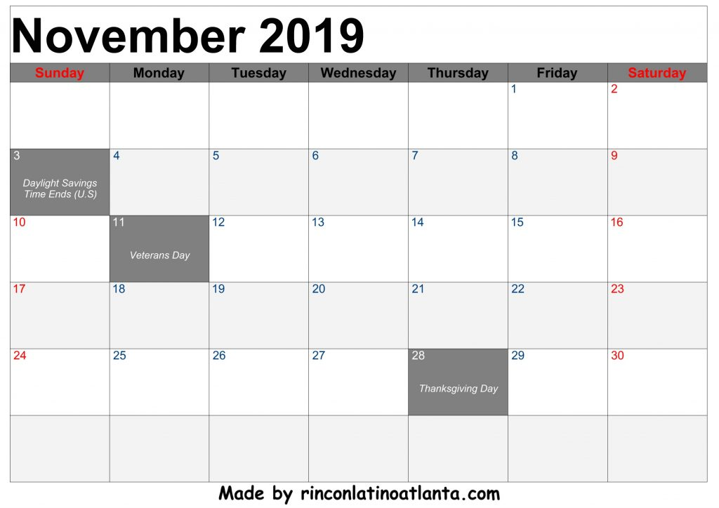 November 2019 Calendar Printable Free Download Template