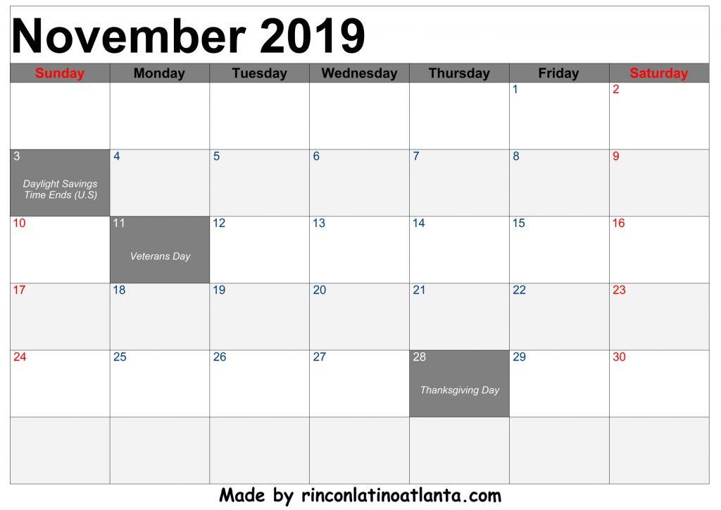 November 2019 Calendar Printable Free Download Template