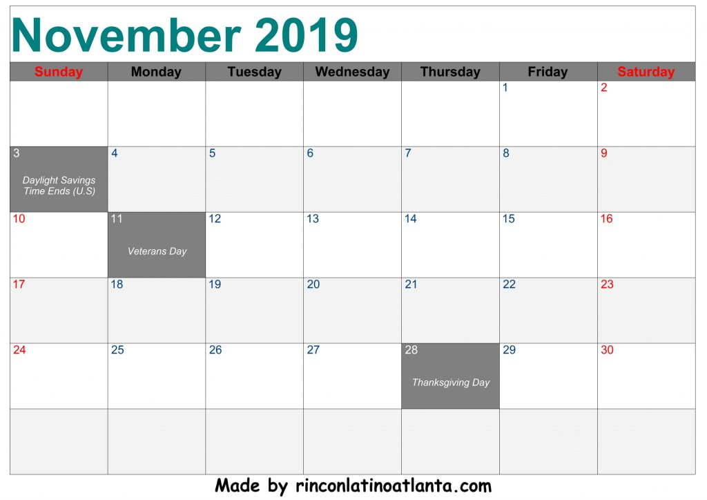 November 2019 Calendar Printable Left Header Center Green