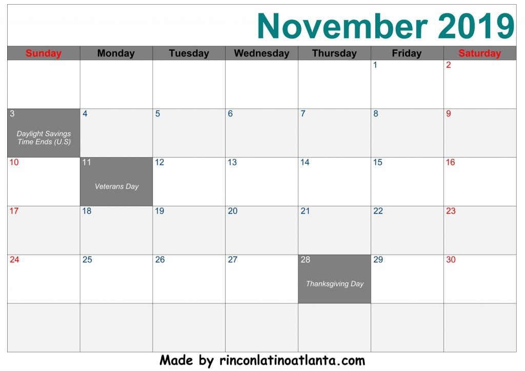 November 2019 Calendar Printable Template Right Green Header