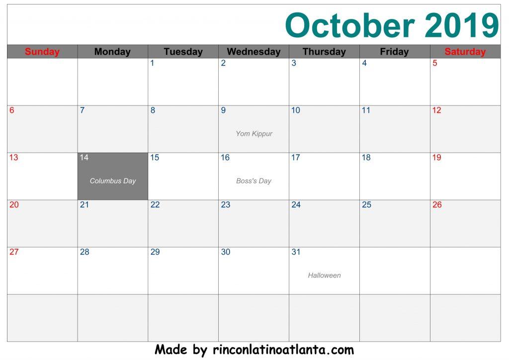 October 2019 Printable Calendar Blue Right Header