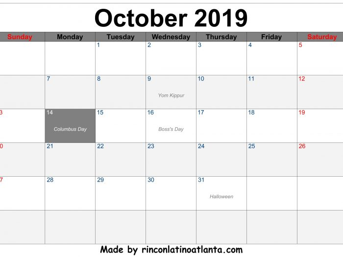 October 2019 Printable Calendar Free Download Center Header