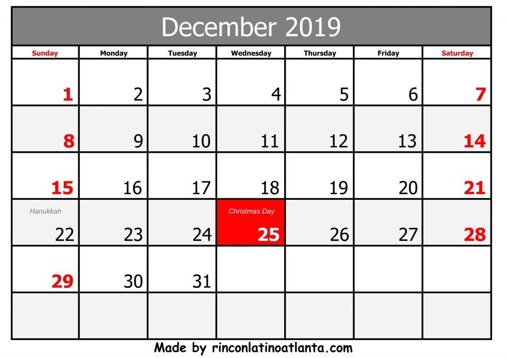 blank december 2019 printable calendar free