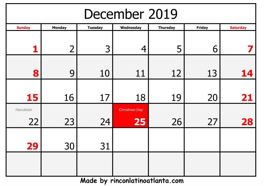 december 2019 calendar printable black and white